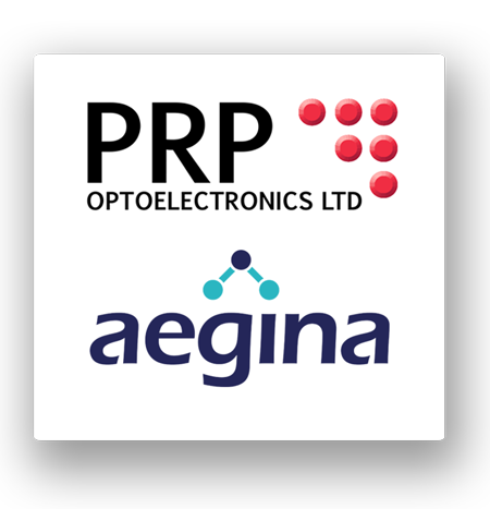 Aegina is made by PRP Optoelectronics this image shows logos for PRP and Aegina
