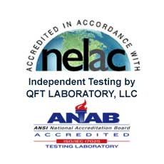 Aegina has been independently test by QFT LABORATORY, LLC. EPA ID # NJ01298 IAPMO ID# 000102 NJDEP ID # 08021 ANAB Cert ID AT-2866