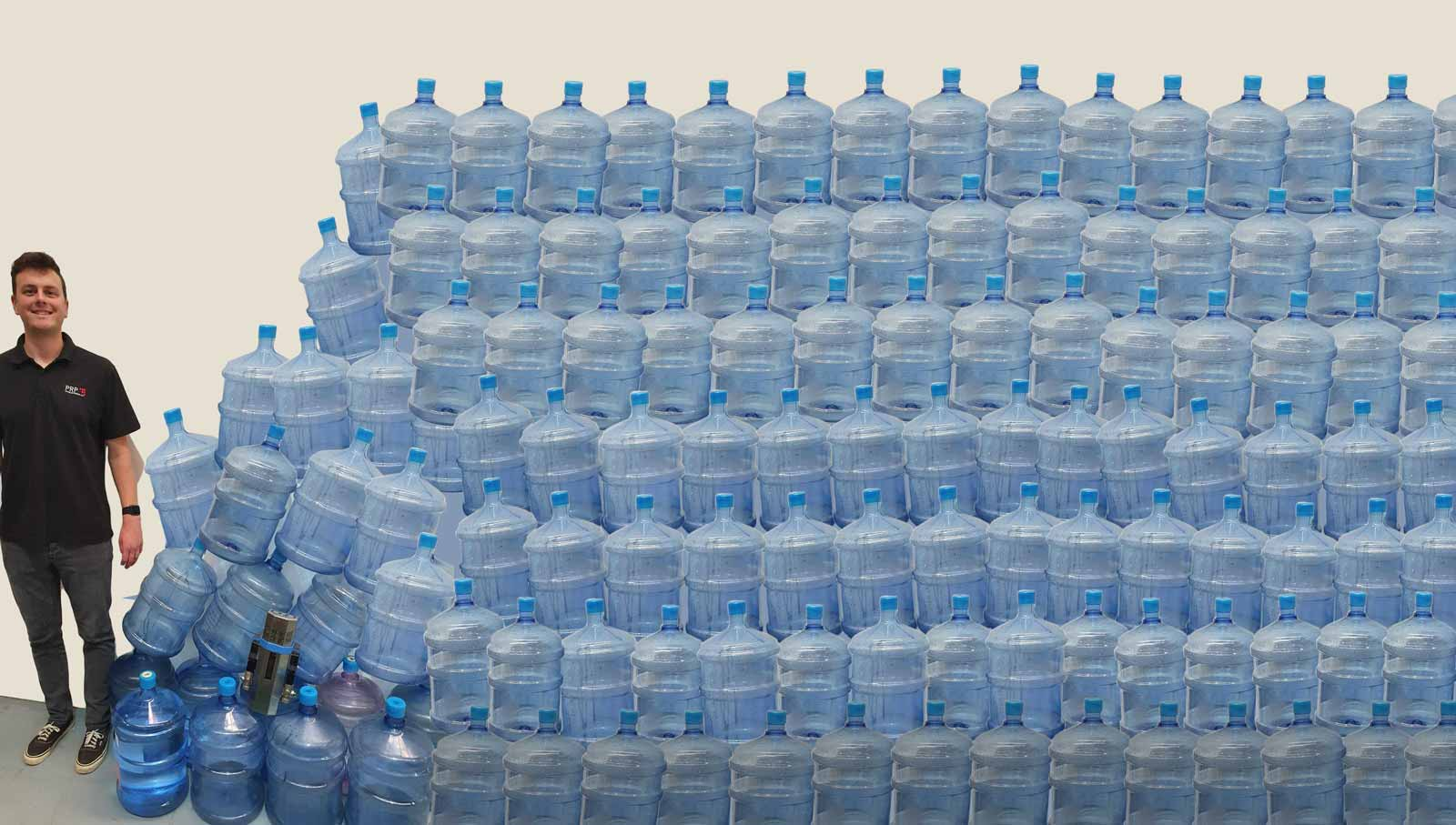 A visual showing the number of plastic water bottles used by PRP in a year